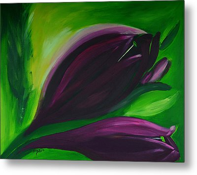 Queen Of The Night Tulips Metal Print by Donna Blackhall