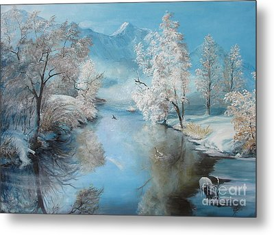 Metal Print featuring the painting Quiet Ice  by Sorin Apostolescu