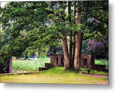 Quiet Park Corner. De Haar Castle Metal Print by Jenny Rainbow