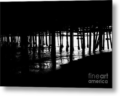 Quiet Pier Pillars Metal Print