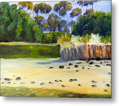 Metal Print featuring the painting Quiet Sand By The Creek by Pamela  Meredith