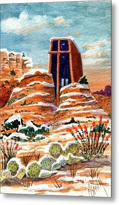 Quiet Snowfall  Sedona  Arizona Metal Print by Marilyn Smith