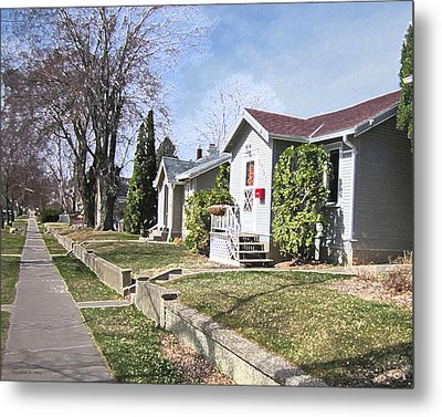 Quiet Street Waiting For Spring Metal Print