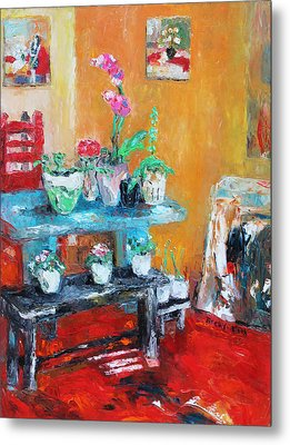 Quiet Time Corner Metal Print by Becky Kim