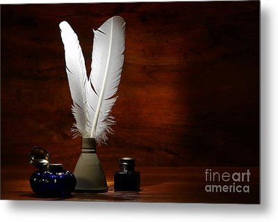 Quills And Inkwells Metal Print by Olivier Le Queinec
