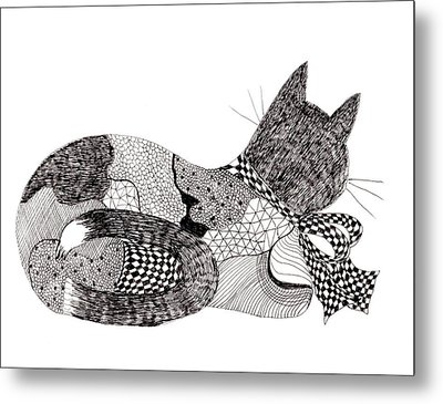 Quilt Cat With Bow Metal Print by Lou Belcher