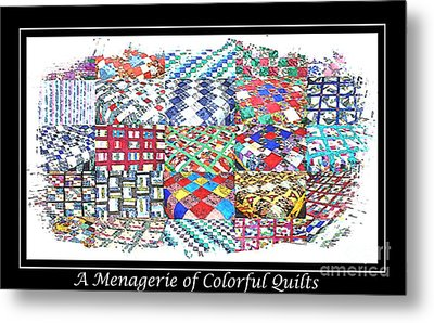Quilt Collage Illustration Metal Print by Barbara Griffin