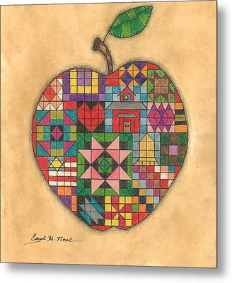 Quilted Apple Metal Print