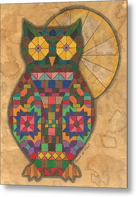 Quilted Owl Metal Print