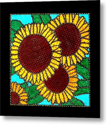 Quilted Sunflowers Metal Print by Jim Harris