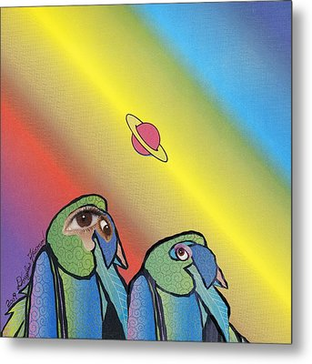 Metal Print featuring the mixed media Quirky Birds by Douglas Fromm