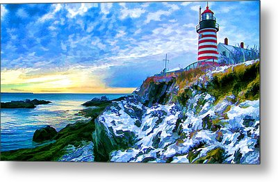 Quoddy Head Lighthouse In Winter 3 Metal Print by ABeautifulSky Photography