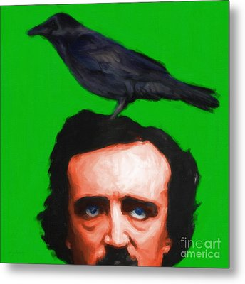 Quoth The Raven Nevermore - Edgar Allan Poe - Painterly - Green - Square Metal Print