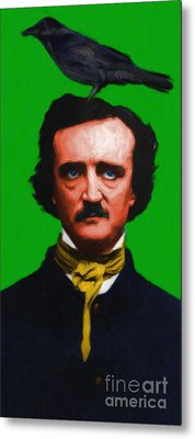 Quoth The Raven Nevermore - Edgar Allan Poe - Painterly - Green Metal Print by Wingsdomain Art and Photography