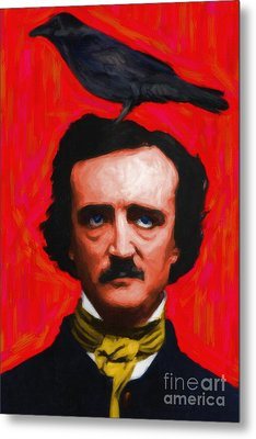 Quoth The Raven Nevermore - Edgar Allan Poe - Painterly - Red - Standard Size Metal Print by Wingsdomain Art and Photography