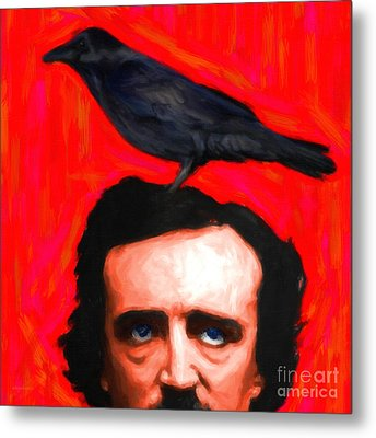 Quoth The Raven Nevermore - Edgar Allan Poe - Painterly - Square Metal Print by Wingsdomain Art and Photography