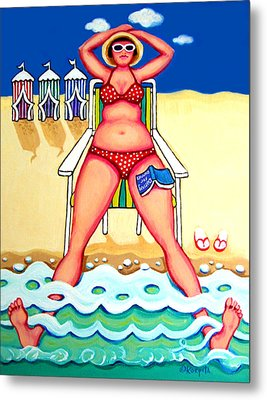 R And D - Woman On Beach Metal Print
