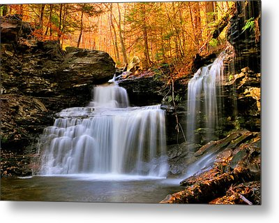 Metal Print featuring the photograph R. B. Ricketts Falls Under Fall's Golden Halo by Gene Walls