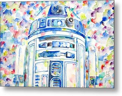 R2-d2 Watercolor Portrait.1 Metal Print