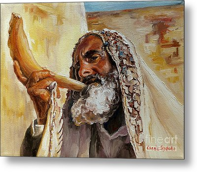 Rabbi Blowing Shofar Metal Print