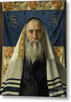 Rabbi With Prayer Shawl Metal Print by Celestial Images