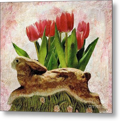Rabbit And Pink Tulips Metal Print