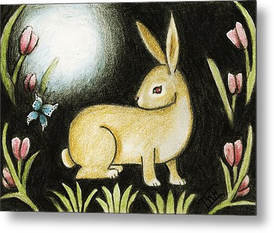 Metal Print featuring the mixed media Rabbit And The Butterfly . . . From The Tapestry Series by Terry Webb Harshman