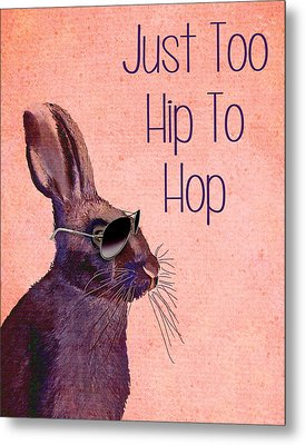 Rabbit Too Hip To Hop Pink Metal Print by Kelly McLaughlan