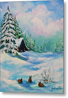 Metal Print featuring the painting Rabbits Waiting For Spring by Bob and Nadine Johnston