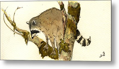 Raccoon On A Tree Metal Print by Juan  Bosco