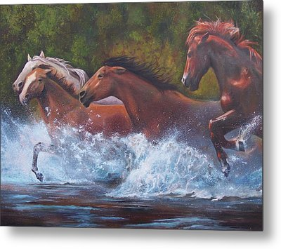 Metal Print featuring the painting Race For Freedom by Karen Kennedy Chatham