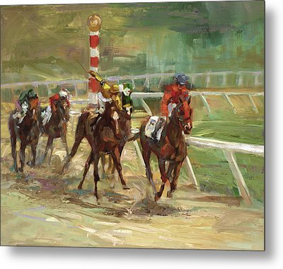 Race Horses Metal Print by Laurie Hein