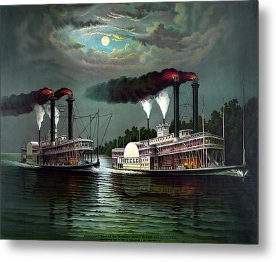 Race Of The Steamers Robert E Lee And Natchez Metal Print by War Is Hell Store