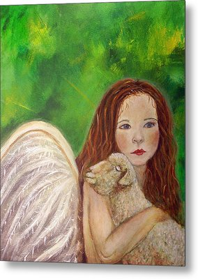 Rachelle Little Lamb The Return To Innocence Metal Print by The Art With A Heart By Charlotte Phillips