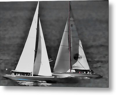 Metal Print featuring the photograph Racing At Sea by Pamela Blizzard