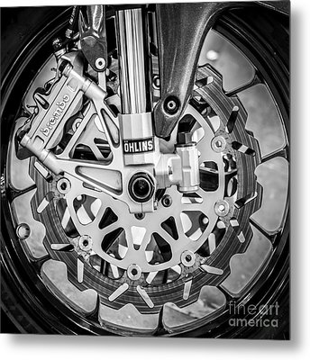 Racing Bike Wheel With Brembo Brakes And Ohlins Shock Absorbers - Square - Black And White Metal Print by Ian Monk