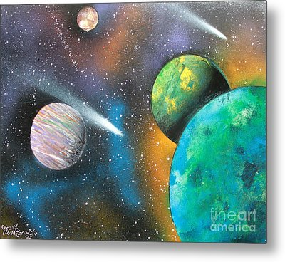 Metal Print featuring the painting Racing Comets by Greg Moores
