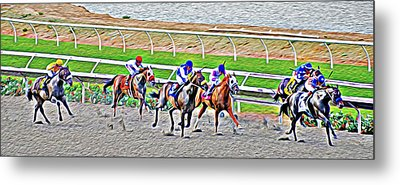Metal Print featuring the photograph Racing Horses by Christine Till