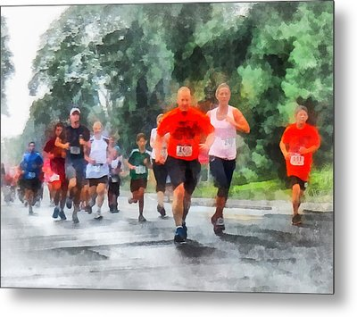 Racing In The Rain Metal Print by Susan Savad