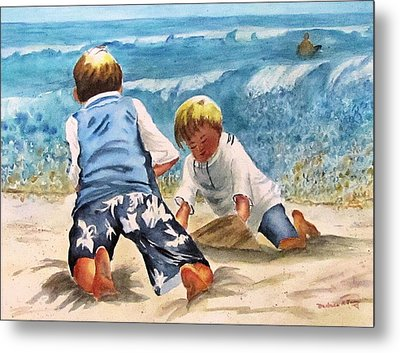 Racing The Tide Metal Print by Barbara Jung