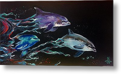 Racing The Waves Metal Print by Marco Antonio Aguilar