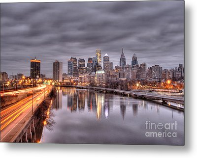 Racing To The City Lights - Philly Metal Print by Mark Ayzenberg