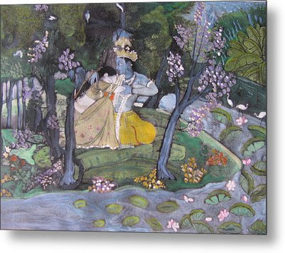 Metal Print featuring the painting Radha And Krishna by Vikram Singh