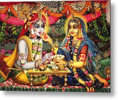Radha Krishna Bhojan Lila On Yamuna Metal Print by Vrindavan Das