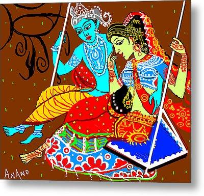 Radha Krishna On A Swing-13 Metal Print by Anand Swaroop Manchiraju