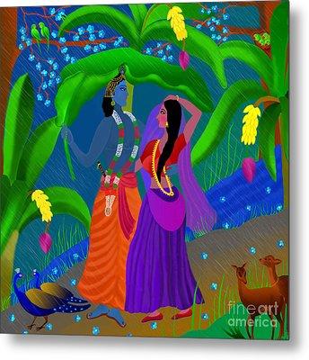 Radha Likes Rain Metal Print by Latha Gokuldas Panicker