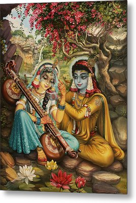 Radha Playing Vina Metal Print