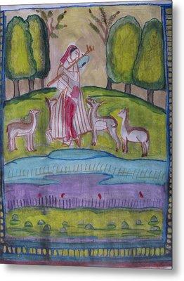 Metal Print featuring the painting Radha by Vikram Singh