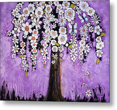Radiant Orchid Flower Tree Metal Print by Blenda Studio