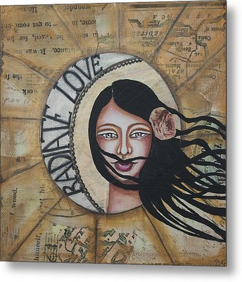 Radiate Love Inspirational Mixed Media Folk Art Metal Print